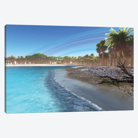 A Rainbow After A Rain Fills The Sky Of This Tropical Beach Canvas Print #TRK2289} by Corey Ford Canvas Art