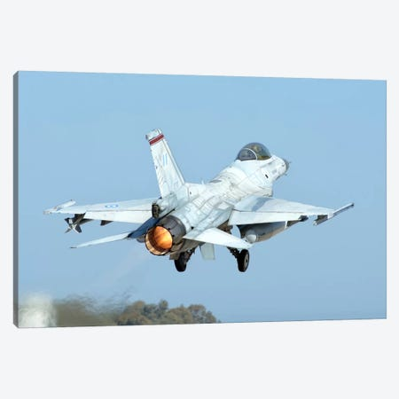A Hellenic Air Force F-16C Block 50 Taking Off From Andravida, Greece Canvas Print #TRK228} by Daniele Faccioli Art Print