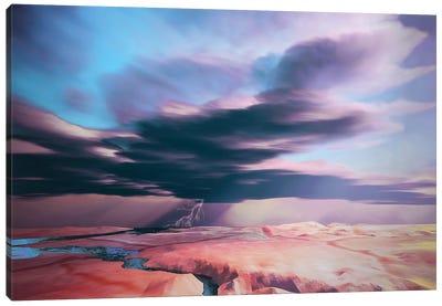 A Swift Moving Thunderstorm Moves Over A Desert Landscape Canvas Art Print