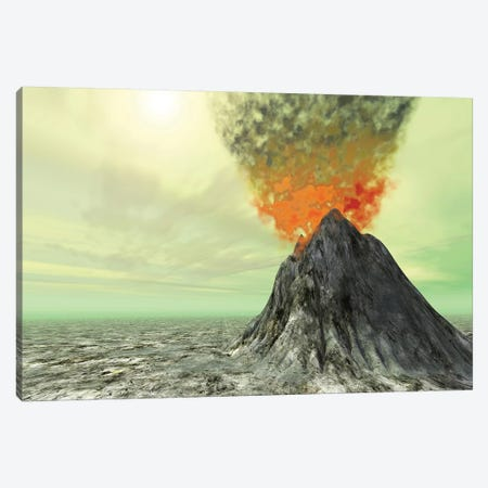 A Volcano Comes To Life With Smoke, Ash And Fire Canvas Print #TRK2294} by Corey Ford Canvas Art