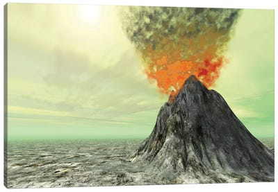 A Volcano Comes To Life With Smoke, Ash And Fire Canvas Art Print