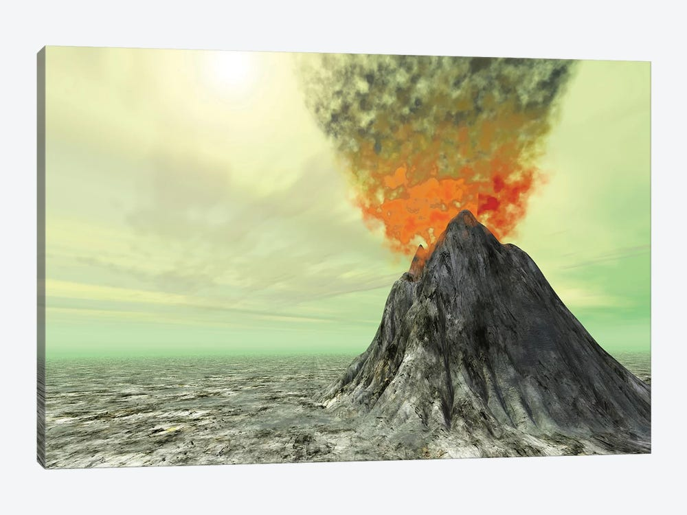 A Volcano Comes To Life With Smoke, Ash And Fire by Corey Ford 1-piece Canvas Art Print