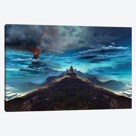 A Volcano Erupts Near An Ancient Mayan Temple Canvas Print #TRK2295} by Corey Ford Canvas Art