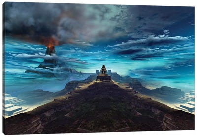 A Volcano Erupts Near An Ancient Mayan Temple Canvas Art Print
