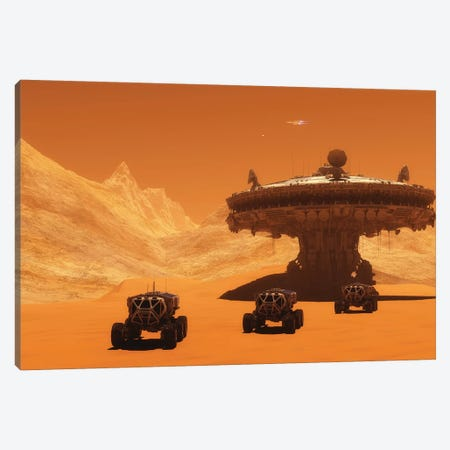 All-Terrain Vehicles Embark On An Exploratory Mission Across Mars Canvas Print #TRK2296} by Corey Ford Canvas Wall Art