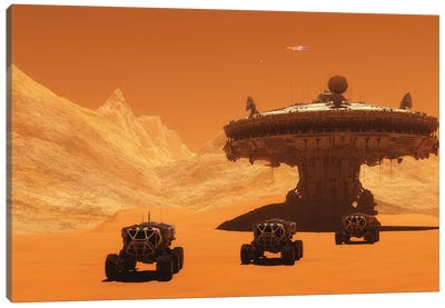 All-Terrain Vehicles Embark On An Exploratory Mission Across Mars Canvas Art Print