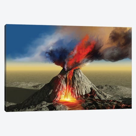 An Active Volcano Belches Smoke And Molten Red Lava In An Eruption Canvas Print #TRK2297} by Corey Ford Canvas Wall Art