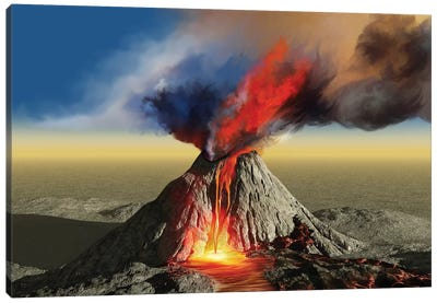 An Active Volcano Belches Smoke And Molten Red Lava In An Eruption Canvas Art Print