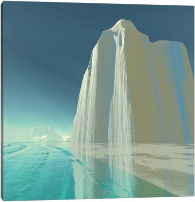 An Iceberg Is Frozen In The Clear Ice Of The Ocean Canvas Art Print