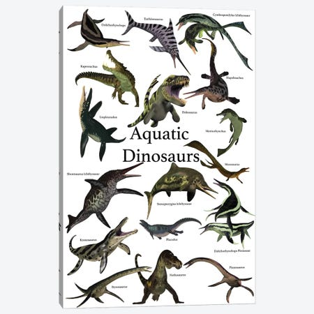 Aquatic Dinosaurs Poster Canvas Print #TRK2299} by Corey Ford Art Print