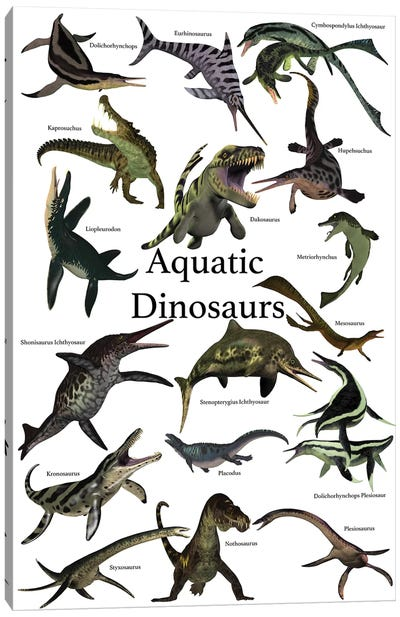 Aquatic Dinosaurs Poster Canvas Art Print