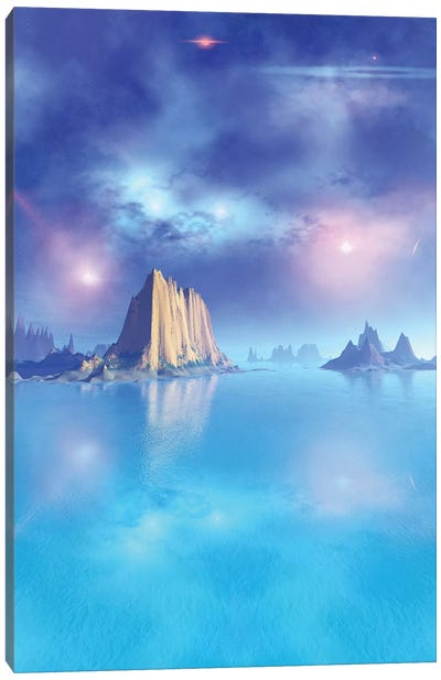 Beautiful Night Scene Of The Ocean Canvas Art Print