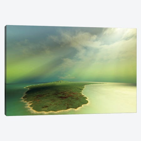 Beautiful Rays Of Sun Stream Down On An Island In The Ocean Canvas Print #TRK2301} by Corey Ford Art Print