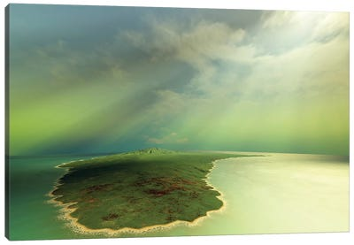 Beautiful Rays Of Sun Stream Down On An Island In The Ocean Canvas Art Print
