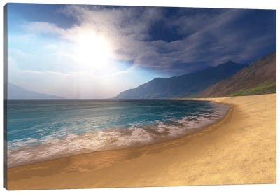 Blue Seas And Radient Sun Shine In This Seascape Canvas Art Print