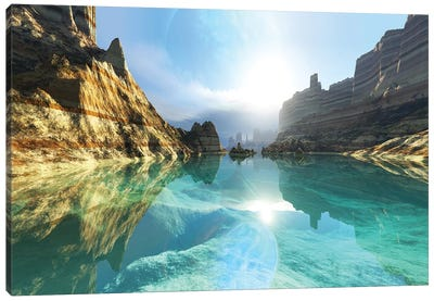 Clear Canyon River Waters Reflect The Alien Planet In The Sky Canvas Art Print