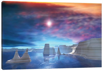 Colorful Sunset On The Waters Of This Canyon Landscape Canvas Art Print