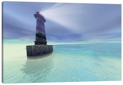 Low Fog Settles Down On A Lighthouse Near The Coast Canvas Art Print