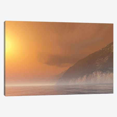 Mist Starts Burning Off With The Sunrise Of This Seascape Canvas Print #TRK2307} by Corey Ford Canvas Art