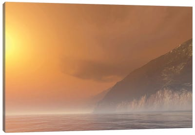 Mist Starts Burning Off With The Sunrise Of This Seascape Canvas Art Print