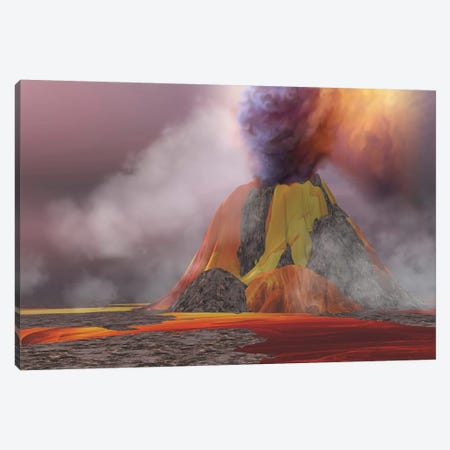 Molten Magma Flows From An Erupting Volcano Canvas Print #TRK2308} by Corey Ford Canvas Art Print
