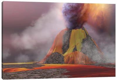 Molten Magma Flows From An Erupting Volcano Canvas Art Print