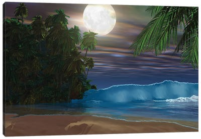 Moonlight Shines Down On The Beach During The Night Of A Full Moon Canvas Art Print