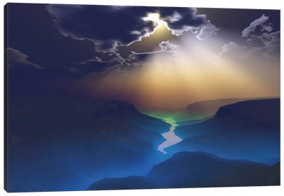 Morning Mist Surrounds The Mountains Of This Beautiful Valley Canvas Art Print