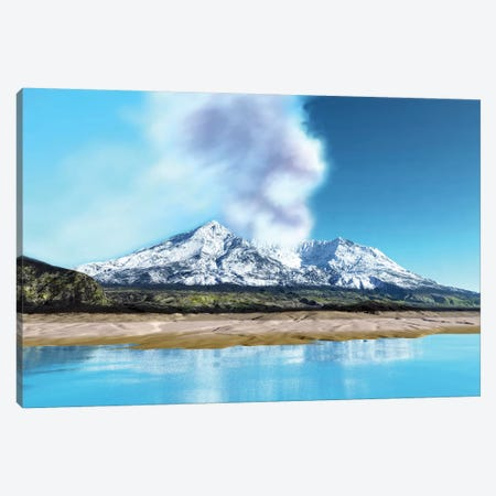 Mount Saint Helens Simmers After The Volcanic Eruption Canvas Print #TRK2311} by Corey Ford Canvas Art