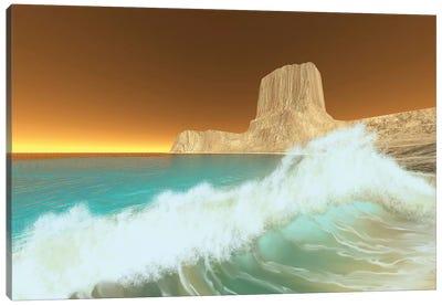 Ocean Waves Break At Dawn On This Coastline Canvas Art Print