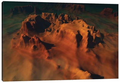 Overhead View Of A Desert Mountain Worn Down From Erosion Canvas Art Print