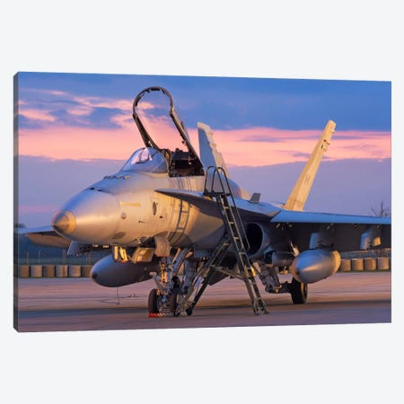 A Royal Canadian Air Force CF-188 Hornet Preparing For A Night Takeoff From Romania I Canvas Print #TRK231} by Daniele Faccioli Canvas Artwork