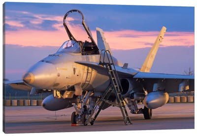 A Royal Canadian Air Force CF-188 Hornet Preparing For A Night Takeoff From Romania I Canvas Art Print