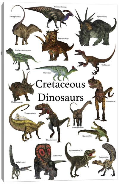 Poster Of Prehistoric Dinosaurs During The Cretaceous Period Canvas Art Print