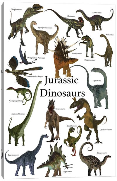 Poster Of Prehistoric Dinosaurs During The Jurassic Period Canvas Art Print