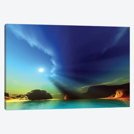 Rays From The Sun Shine Down On This Colorful Seascape Canvas Print #TRK2324} by Corey Ford Canvas Art