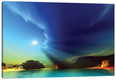 Rays From The Sun Shine Down On This Colorful Seascape Canvas Art Print