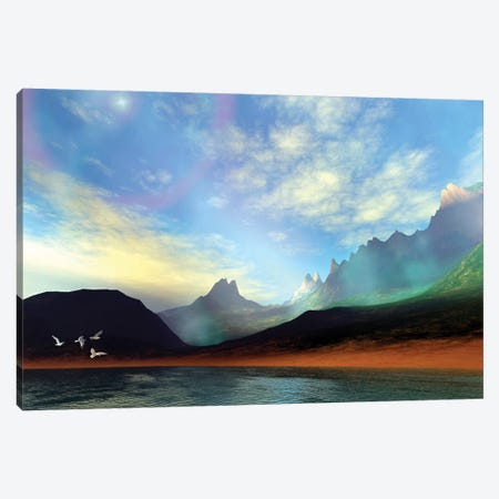 Seagulls Fly Near A Beautiful Island With A Rainbow In The Sky Canvas Print #TRK2327} by Corey Ford Canvas Wall Art