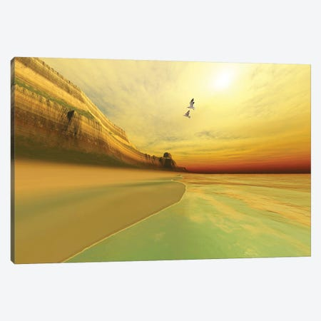 Seagulls Fly Near The Mountains Of This Seascape Canvas Print #TRK2328} by Corey Ford Canvas Print