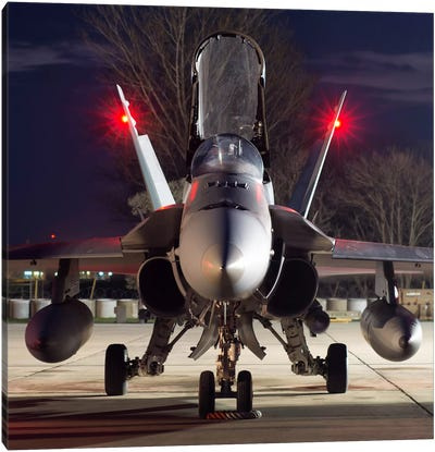 A Royal Canadian Air Force CF-188 Hornet Preparing For A Night Takeoff From Romania II Canvas Art Print