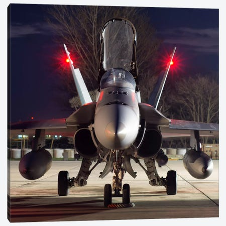 A Royal Canadian Air Force CF-188 Hornet Preparing For A Night Takeoff From Romania II Canvas Print #TRK232} by Daniele Faccioli Canvas Artwork
