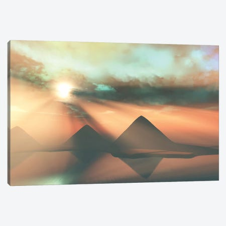 Sunrays Shine Down On Three Pyramids Along The Nile River On The Giza Plateau 3-Piece Canvas #TRK2335} by Corey Ford Art Print