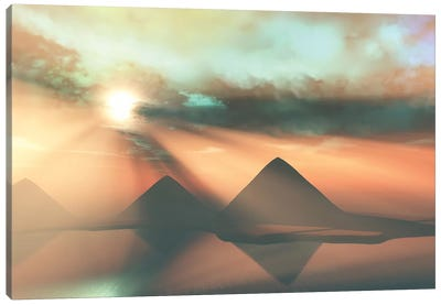 Sunrays Shine Down On Three Pyramids Along The Nile River On The Giza Plateau Canvas Art Print