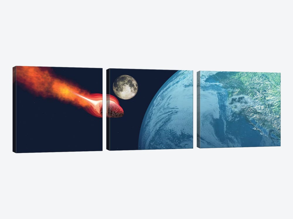 The Earth Is About To Be Hit By An Unknown White Hot Asteroid by Corey Ford 3-piece Canvas Wall Art