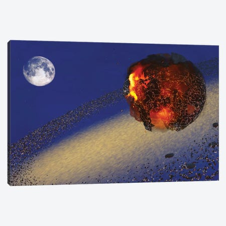 The Earth Lays In Ruins After An Asteriod Hits The Planet Canvas Print #TRK2339} by Corey Ford Canvas Art