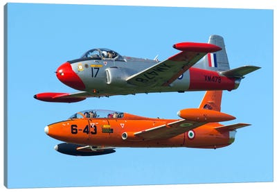 An MB-326E Of The Italian Air Force Flies Alongside A Jet Provost T3A Canvas Art Print