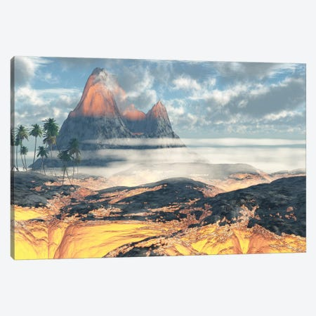 The Island On Hawaii Is Engulfed By Layers Of Red Hot Lava By An Active Volcano Canvas Print #TRK2340} by Corey Ford Art Print