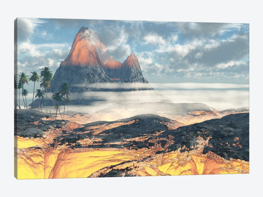 The Island On Hawaii Is Engulfed By Layers Of Red Hot Lava By An Active Volcano by Corey Ford 1-piece Art Print