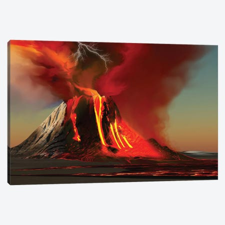 The Kilauea Volcano Erupts On The Island Of Hawaii With Plumes Of Fire And Smoke Canvas Print #TRK2341} by Corey Ford Art Print