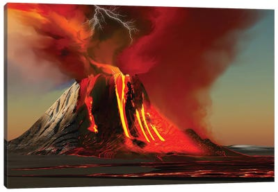 The Kilauea Volcano Erupts On The Island Of Hawaii With Plumes Of Fire And Smoke Canvas Art Print
